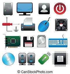 dator, sätta, ikon