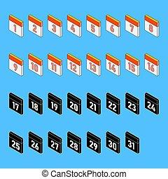 day., dagar, style., 3, illustration, kalender, 1, tidsgräns, isometric, 31., isolerat