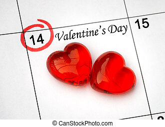 day., sida, kalender, hjärtan, 14, helgon, röd, valentinkort, februari