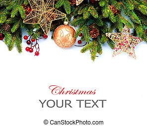 decoration., isolerat, bakgrund., design, utsmyckningar, vit, helgdag, gräns, jul