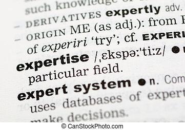 definition, expertis, ordbok