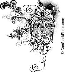 dekoration, flygning, kors, rulla