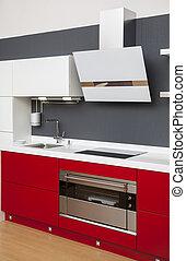 dekoration, inre, nymodig, röd, kök