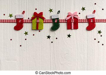 dekoration, målad, rustik, bakgrund, boa, vit jul