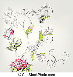 dekorativ, fjäder, kort