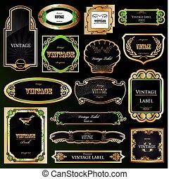 dekorativ, gyllene, sätta, labels., vektor, svart, inramar