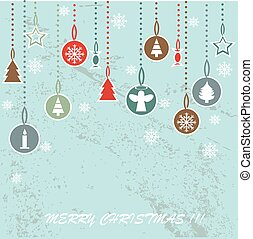 dekorativ, klumpa ihop sig, retro, bakgrund, jul