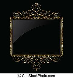 dekorativ, ram, svart, guld