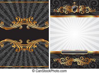 dekorativ, sätta, guld, &, vektor, svart, lyxvara, bakgrund