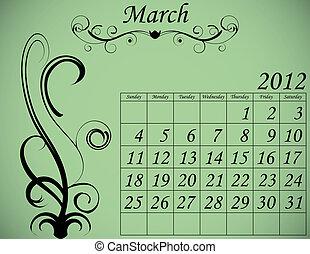 dekorativ, sätta, mars, 2, kalender, fanfar, 2012