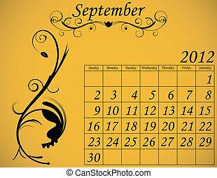 dekorativ, sätta, september, 2, kalender, fanfar, 2012