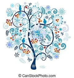 dekorativ, träd vinter