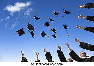 deltagare, hattar, gradindelning, luft, fira, kastande