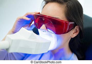 dental, klient, klinik, vitfärgning, tänder, ha