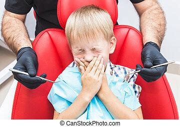 dental, patient., examen, clinic., tänder, mottagande, omsorg