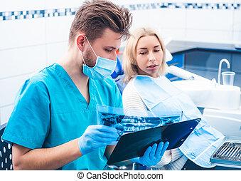dental, visande, tålmodig, tandläkare, röntga