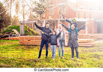 deras, färsk, stående, lycklig, home., familj, främre del