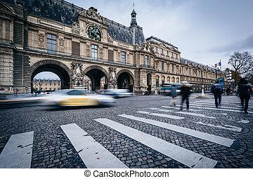 des, paris, lejonen, porte, trafik, flyttande förbi, frankrike