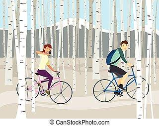 design, björk, skog, ridning cykel, par, vektor, vinter, illustration, bakgrund