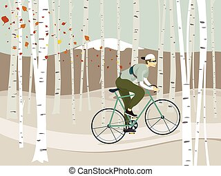 design, björk, skog, ridning cykel, vektor, illustration, vinter, bakgrund, man