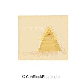 design, forntida, ögon, pyramid