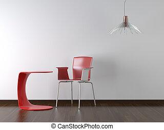 design, inre, bord, stol, vit röd