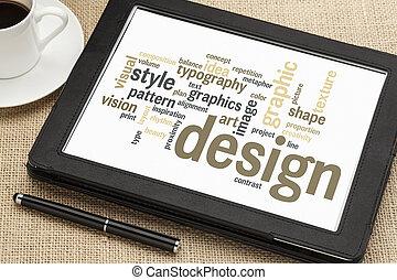 design, ord, moln, grafisk