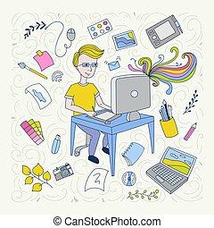 designer, concept., yrke, illustration, grafisk, handdrawn