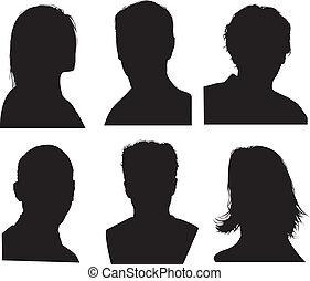 detaljerad, huvud, silhouettes