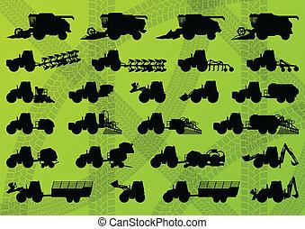 detaljerad, kombinera, industriell, lastbilar, skördearbetare, traktorer, illustration, utrustning, silhouettes, vektor, grävare, kollektion, bakgrund, jordbruk, lantbruk