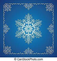 detaljerad, snöflinga, 1, singel, gräns, jul