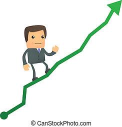 diagram, affärsman, uppe, tecknad film, klättrande