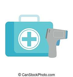 digital, bistånd, mätning, första, 2019, kropp, infraröd, utrustning, termometer, medicinsk, non, coronavirus, ncov, sjukdom, kontakta, förhindrande, temperatur