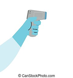 digital, mätning, termometer, kropp, 2019, infraröd, termometer, hand, non, medicinsk, coronavirus, ncov, sjukdom, kontakta, förhindrande, temperatur