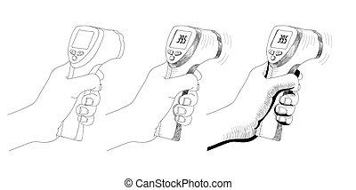 digital, vit, non-contact, kropp, mätning, infraröd, bakgrund., medicinsk, temperature., hand, läkare., lägenhet, design., isolerat, vektor, termometer