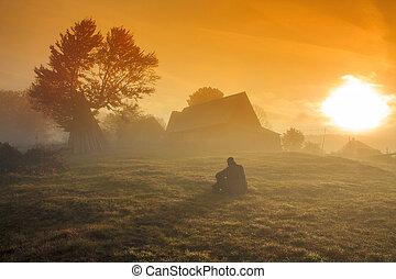 dimmig, soluppgång, landskap, morgon