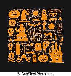 din, bakgrund, halloween, design