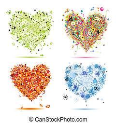 din, fjäder, winter., kryddar, -, höst, sommar, konst, hjärtan, fyra, design, vacker