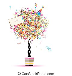 din, sväller, helgdag, rolig, träd, lycklig, kruka, design