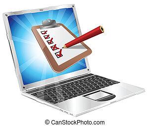 direkt, överblick, begrepp, laptop, skrivplatta