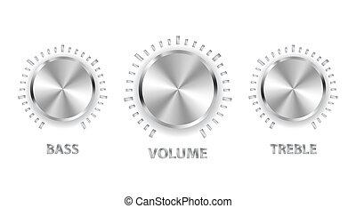 diskant, bas, metall, volym, vektor, vred