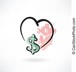 dollar, grunge, kärlek, ikon