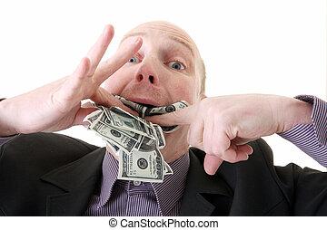 dollars, förbrukande, girighet, glupskhet
