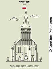 domkyrka, apostel, gränsmärke, basilika, szczecin, james, ikon, poland., st
