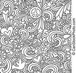 doodles, anteckningsbok, seamless, mönster