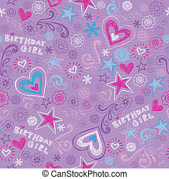 doodles, födelsedag, seamless, mönster