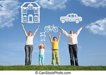 dröm, familj, collage, uppe, fyra händer, gräs