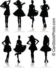 dress., olika, modell, illustration, sätta, flickor, vektor, dam, vacker