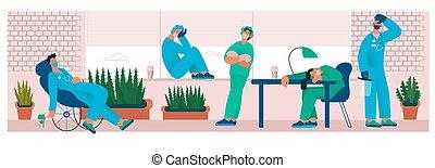 dricka, kontor, coffee., läkare, sköta, trött, tröttkörd, eller