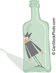 drinkare, insida, flaska
